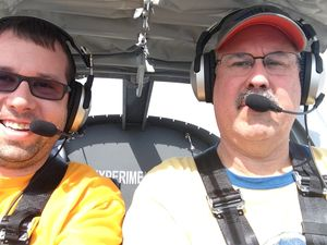 RV12 in air photo with my oldest son Stephen Valcik